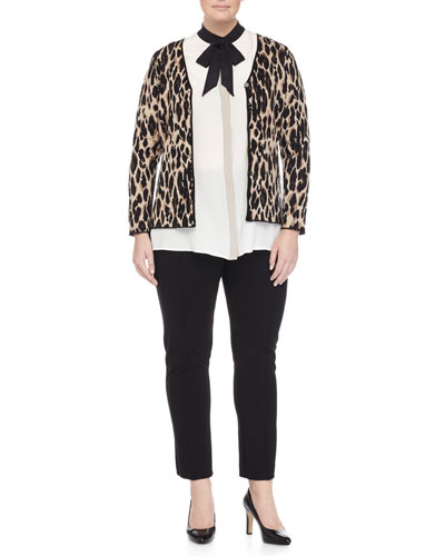 Mimo Animal-Print Jacket, Banchisa Bow-Neck Blouse & Raissa Slim-Leg Pants, Women