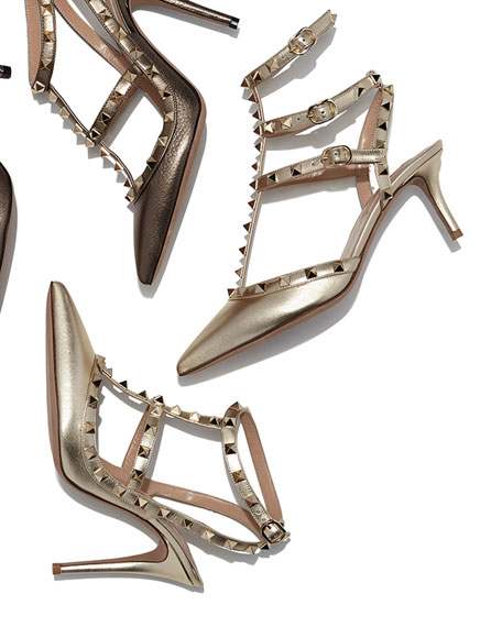 Valentino Metallic Rockstud Leather Pump, Platino