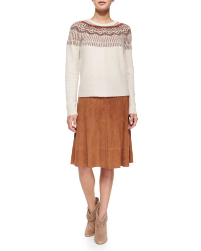 Jehannon Printed Sweater & Mylon Suede Skirt
