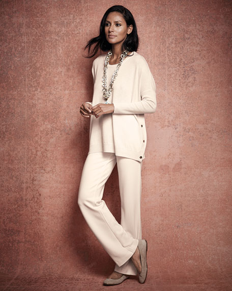 Long-Sleeve Wool-Cashmere Tunic