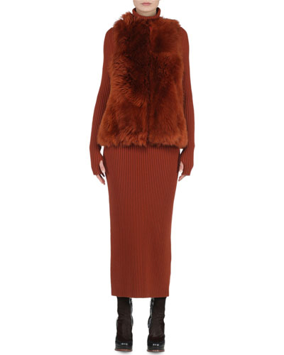 Reversible A-Line Fur Vest & Long-Sleeve Wide-Ribbed Dress
