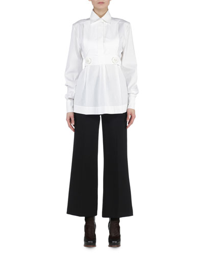 Button-Tabbed Bib Tunic & Cropped Boot-Cut Pants