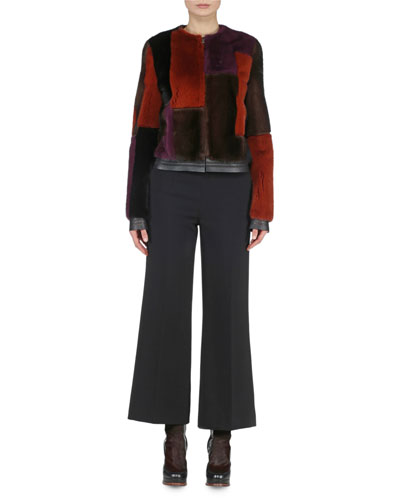 Patchwork Fur Bomber Jacket & Cropped Boot-Cut Pants