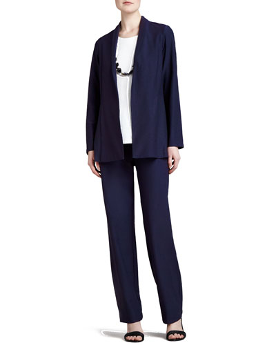 Long Washable Crepe Shawl-Collar Jacket & Slim Boot-Cut Pants, Women's