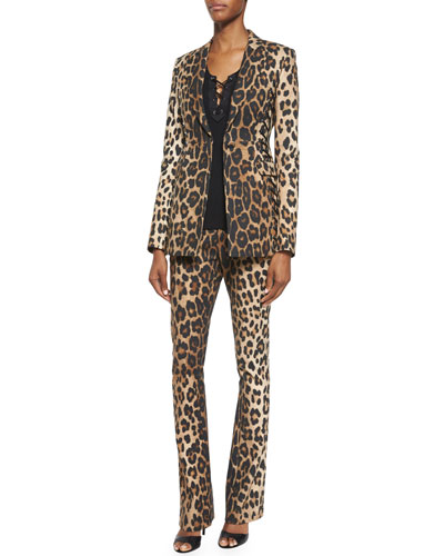 Leopard-Print Side Lace-Up Blazer, Sleeveless Lace-Up Top & Leopard-Print Skinny Flared Pants