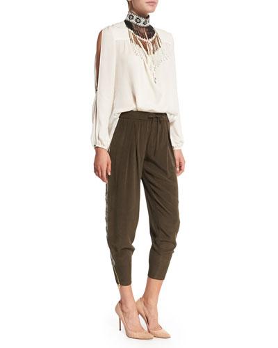 Long-Sleeve Silk Tie Blouse,  Beaded Fringe Necklace & Embellished Tux Stripe Pants