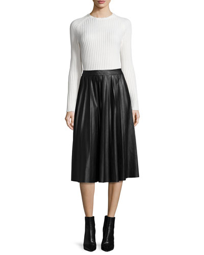 Long-Sleeve Ribbed Knit Sweater & Leather Pleated Midi Skirt