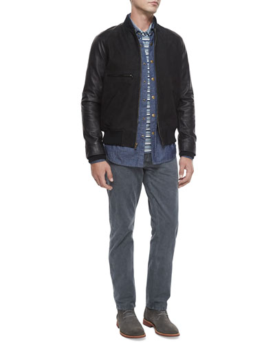 Mixed-Media Leather Bomber Jacket, Tonal-Stripe Woven Denim Shirt, Multi-Stripe Pique Polo Shirt & Ashland Five-Pocket Twill Pants