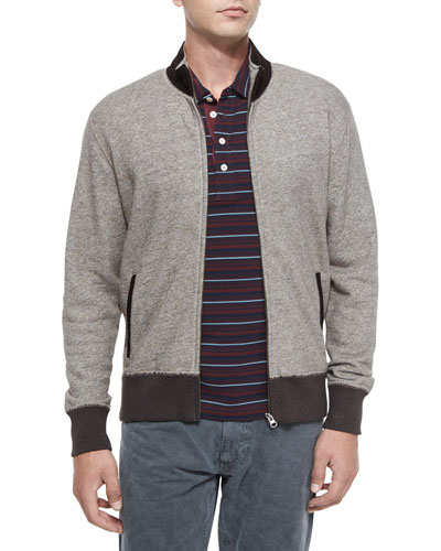 Heathered Track Jacket with Suede Collar & Pensacola Striped Pique Polo Shirt