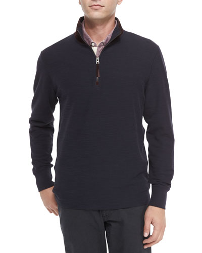 Half-Zip Knit Pullover with Suede Collar & Pensacola Striped Pique Polo Shirt