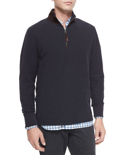Half-Zip Knit Pullover with Suede Collar & Large Check Long-Sleeve Sport Shirt