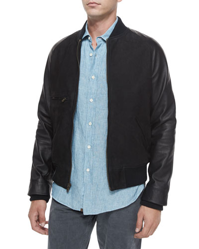 Mixed-Media Leather Bomber Jacket & Donelson Short-Sleeve Linen Shirt