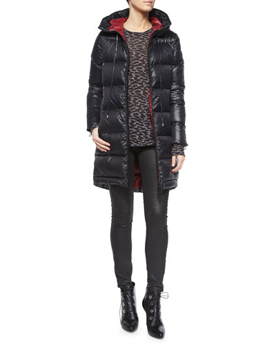 Funnel-Neck Long Puffer Coat, Long-Sleeve Animal-Print T-Shirt & Coated Stretch Denim Jeans