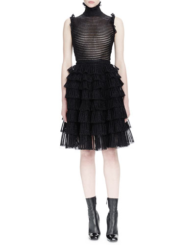 Sleeveless Ruffle-Border Top & Ruched-Tiered Knit Skirt