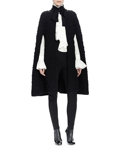 Chunky Quilted-Knit Long Cape, Long-Sleeve Ruffle-Front Blouse & High-Waist Skinny-Leg Pants