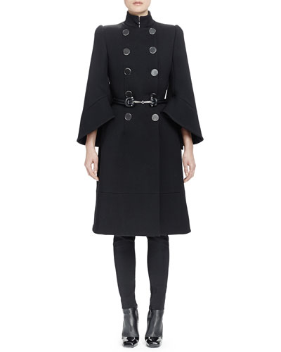 Double-Breasted Bell-Sleeve Coat, High-Waist Skinny-Leg Pants & Double-Strand Metal-Front Belt