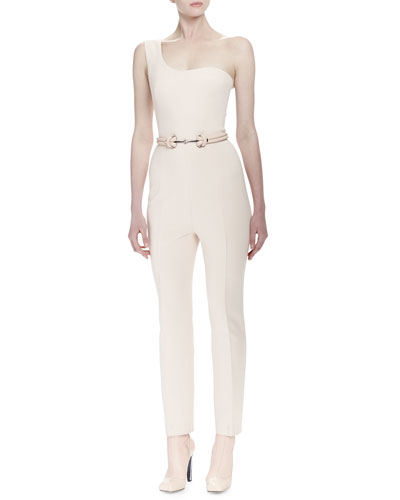 One-Shoulder Fitted Jumpsuit & Double-Strand Metal-Front Belt