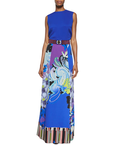 Sleeveless Solid Cady Top, Orchid-Print A-Line Maxi Skirt & Suede Belt w/Enamel Clasp