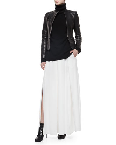 Leather Motorcycle Zip Jacket, Oversized Turtleneck Tunic Sweater & Long Pleated Carwash Skirt
