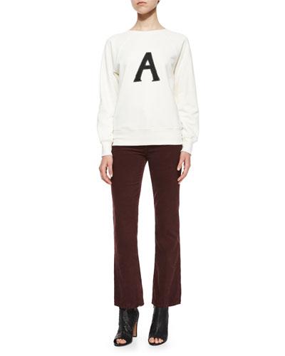 Scarlet Raglan Pullover Sweater & Revolution Boot-Cut Velvet Pants