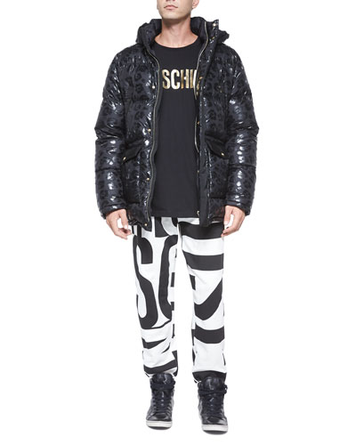 Animal-Print Hooded Puffer Jacket, Gold Logo Graphic Tee & Large Logo-Print Sweatpants