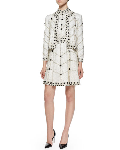 Kidman Embellished Boxy Jacket & Halter-Neck Embellished Dress