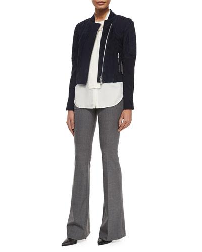 Shezi K. Perfect Long-Sleeve Suede Jacket, Raashida Long-Sleeve Blouse & Jotsna Cavalry Flare Pants