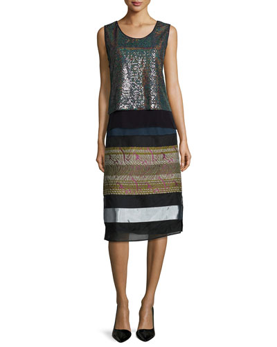 Crepe-Trimmed Allover Sequin Top & Folkloric Paneled Midi Skirt