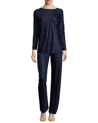Long-Sleeve Spiral Reversible Tunic & Mid-Rise Straight-Leg Shimmer Pants