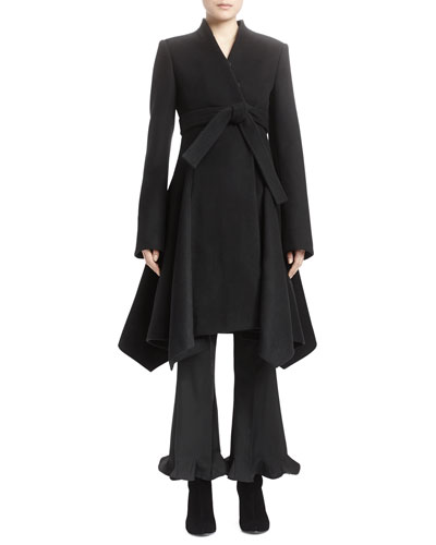 Long-Sleeve A-Line Wool Coat & Flared Flounce-Hem Ankle Pants