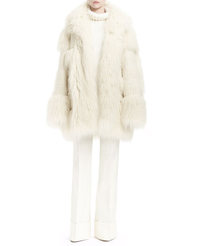 Faux-Fur Long-Sleeve Coat, Long-Sleeve Turtleneck Sweater & Low-Rise Boot-Cut Pants