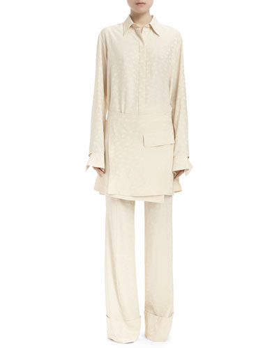 Long-Sleeve Apron-Front Tunic & Wide-Leg Pajama Pant