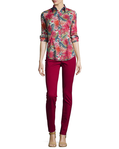 Ella Liberty Floral-Print Blouse & Samantha Peached Sateen Slim Jeans