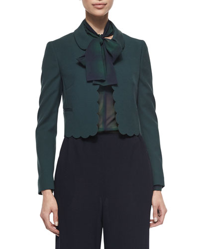 Scalloped-Trim Cropped Jacket & Tie-Neck Silk Plaid Crepe de Chine Shirt