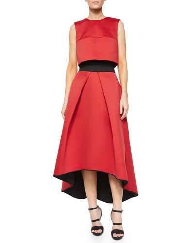 Jewel-Neck Cropped Shell & High-Low Tucked Ball Skirt