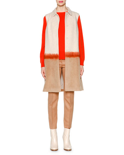 Needlework Colorblock Long Vest, Cashmere Round-Neck Sweater & Square Dotted Jacquard Slim Ankle Pants