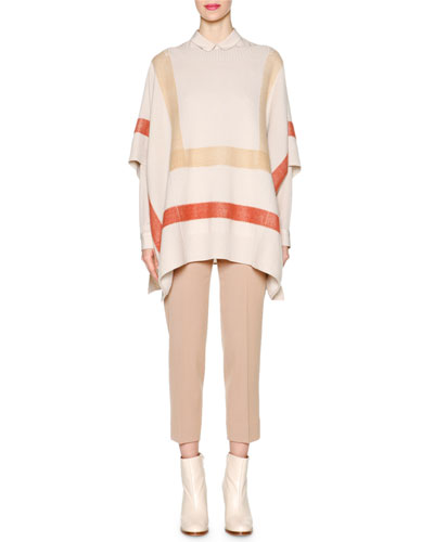 Needlework Border-Trimmed Cashmere-Blend Poncho, Peter Pan-Collar Button Blouse & Audrey Twill Cropped Pants