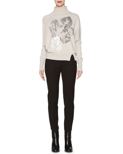 Leaf-Print Dolman-Sleeve Sweater & Gabardine Skinny-Fit Ankle Pants