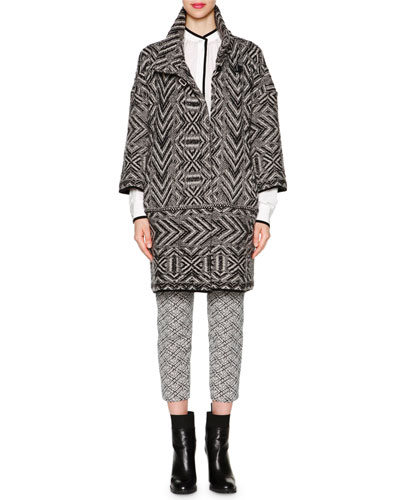 Chevron Cashmere-Blend Jacquard Knit Coat, Contrast-Trimmed Tuck-Pleated Blouse & Audrey Weave-Pattern Jacquard Cropped Pants