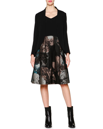 Shawl-Collar Cady Jacket & Floral Jacquard Combo Dress