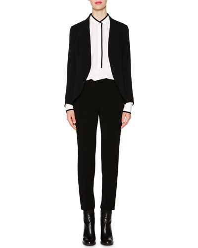 Shawl-Collar Cady Jacket, Contrast-Trimmed Tuck-Pleated Blouse & Monia Slim-Fit Ankle Pants