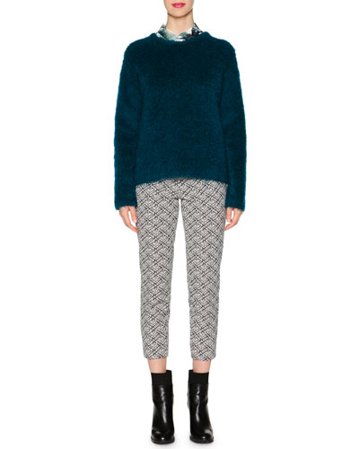 Mohair Knit Crewneck Sweater, Leaf-Print Button Blouse & Audrey Weave-Pattern Jacquard Cropped Pants
