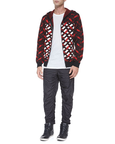 Fair Isle Jacquard Stripe Zip Jacket & Nylon Quilted Track Pants