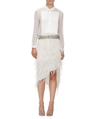 Pleated Front Silk Tux Blouse & Asymmetric Beaded Feather Skirt