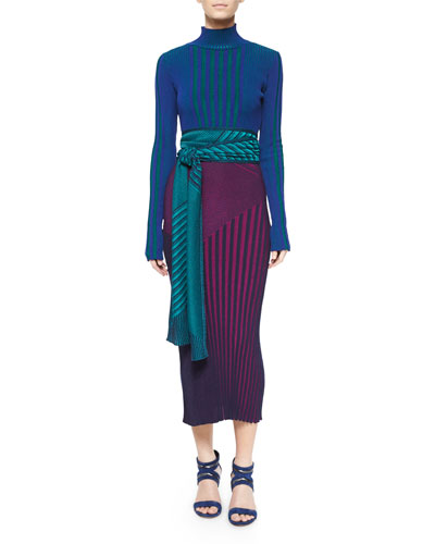 Long-Sleeve Ribbed Turtleneck Sweater, Long Sleeveless Ribbed Knit Dress & Shimmery Ribbed Knit Scarf