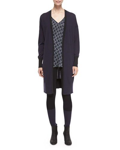 Jessica Long Open-Front Cardigan, Hill Printed Silk Racerback Tank & Kristin Colorblock Knit Leggings