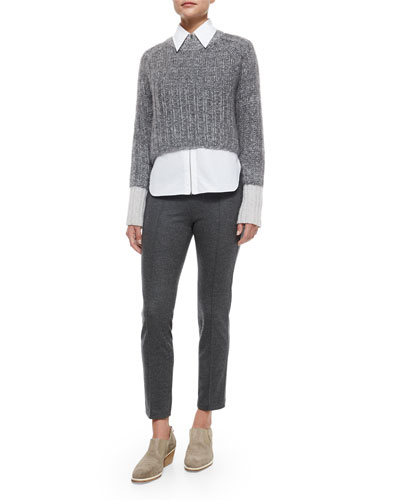 Makenna Cropped Knit Sweater, Frances Zip-Front Shirt & Polly Cropped Wool Pants