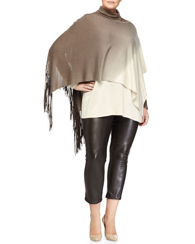 Atena Ombre Cashmere Shawl W/ Fringe, Alto Ombre Turtleneck Sweater & Reim Eco-Leather Cropped Pants, Women's