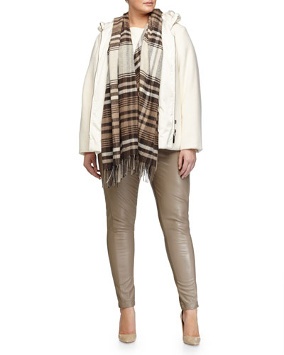 Novella Hooded Coat, Scacchi Foulard Scarf W/ Fringe, Agente Wool-Blend Sweater & Eco-Leather Skinny Pants, Women's