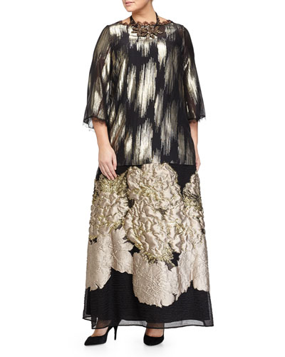 Fulvia Lace-Trim Blouse, Livia Beaded Flower Necklace & Cinema Long Drama Skirt, Women's